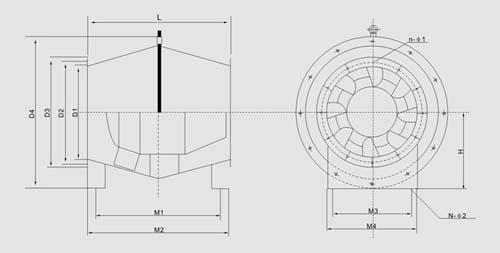 GXF型斜流式88娱乐尺寸图